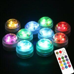 Mini RGB LED lampa med fjärrkontroll vattentät