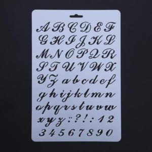 Engelska handskriftstyp bokstäver schablon