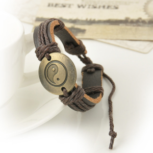 Yin yang läderarmband
